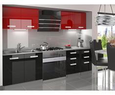 naka24 NEU Komplette Küche Infiniti I 160 cm Hochglanz Verschiedene Farbkombinationen (Schwarz-Rot)