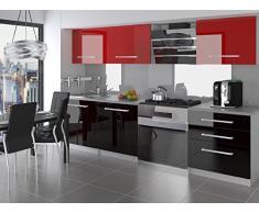 naka24 NEU Komplette Küche KOMPAKTO II 180 cm Hochglanz Verschiedene Farbkombinationen (Schwarz-Rot)