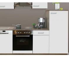 expendio Küchenblock Melina 270 cm vormontiert mit E-Geräten komplett weiß San-Remo Küchenzeile Küche Einbauküche Komplett-Küche, Ausführung:Kühlschrank rechts