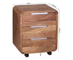 WOHNLING Rollcontainer Akazie Massivholz Design Schubladenschrank für Schreibtisch Natur-Holz 3 Schubladen Landhaus-Stil Rollwagen Büro 60,5 cm Kommode dunkel-braun Büromöbel Bürocontainer Unikat