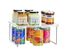 iDesign Linus Küchenregal, kleiner Küchenorganizer für Geschirr und Vorräte, stapelbares Gewürzregal aus Kunststoff und Metall, durchsichtig und silberfarben