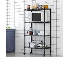 LENTIA Küchenregal stabil Lagerregal Standregal 4 Regalböden Metallregal Regal für küche Haushaltsregal mit Rollen Schwarz 120 * 35 * 75cm bis zu 30 kg pro Regalboden (120 * 35 * 75cm)
