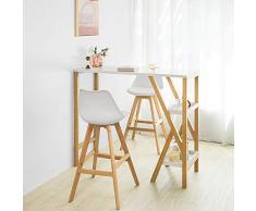 SoBuy FWT56-W Design Bartisch Stehtisch Bartresen Küchentheke Bambus Küchenbar mit 2 Regalfächern weiß BHT ca.: 122x107x45cm