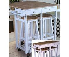 Spetebo Rollbare Küchenbar mit abklappbarer Tischplatte und 2 Hockern
