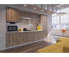 NEU komplette Küche MOHITO 320 cm Eiche Salina matt durchgehende Arbeitsplatte