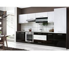 naka24 Komplette Küche Petra 320 cm Verschiedene Farbkombinationen Hochglanz (Weiss/schwarz)