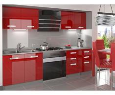 naka24 NEU Komplette Küche Infiniti I 160 cm Hochglanz Verschiedene Farbkombinationen (Rot)