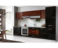 naka24 Komplette Küche Petra 320 cm Verschiedene Farbkombinationen Hochglanz (schwarz/zebrano)