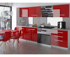 naka24 NEU Komplette Küche KOMPAKTO II 180 cm Hochglanz Verschiedene Farbkombinationen (Rot)