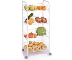 Weißer Küchenwagen mit 3 Ebenen (Küchen-Regal, Obstwagen, Obst-Korb, Beistellwagen, Küchen-Rollwagen, Eisen)