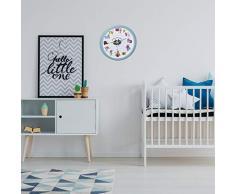 TFA Dostmann LITTLE MONSTERS Kinder-Wanduhr mit Monster-Motiven, leises Uhrwerk, ideal für das Kinderzimmer, Kunststoff, Glas, türkis, ((L) 309 x (B) 44 x (H) 309 mm