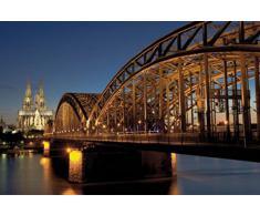 1art1 55302 Köln - Hohenzollernbrücke Und Kölner Dom Bei Nacht Selbstklebende Fototapete Poster-Tapete 180 x 120 cm