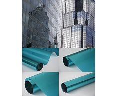 Neoxxim 16,45€/m² Fensterfolie - Meterware Spiegelfolie, Chrom Blau 100 cm x 152 cm - Rollenbreite 152cm Chrom Spiegel Folie Sonnenschutzfolie - viele Längen, Breiten und Farben wählbar