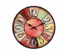 Wanduhr Vintage Colors - rot - farbenfrohe Glasuhr im modernen Design mit arabischen Ziffern, Ø: 38 cm
