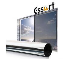 Essort Sonnenschutz Fensterfolie Selbsthaftend, Spiegelfolie für Fenster, Folie für Sonnenschutz Fenster Außen und Innen, Sonnenschutzfolie für Schlafzimmer UV-Schutz Silber 90 x 400 cm