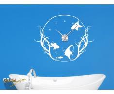 Wandtattoo Uhr Mit Uhrwerk Wanduhr Badezimmer Fische Aquarium WC (Uhr  Schwarz//092 Kupfer
