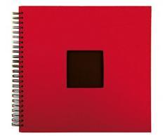 XXL Spiralalbum - Blau, Rot oder Lila - 33 x 37 cm - 50 schwarze Seiten - Fotoalbum - Album für bis zu 300 Bilder 10 x 15 cm, Farbe:Rot