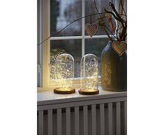 Designer Filippa Glasglocke Nordlux 60 LED Ø12cm H26cm Glas Holz Dekolicht Weihnachtsdeko Weihnachtsbeleuchtung Nachtlicht incl. 5V 3,6W Netzteil EEK A