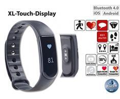 newgen medicals Pulsuhren: Fitness-Armband V4, XL-Touch-Display, Nachrichten, dyn. Herzfreq, IPX7 (Bluetooth Fitness Armbänder mit Herzfrequenz Messung und Nachrichtenanzeige)