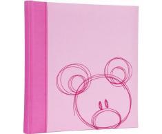 HENZO Baby Fotoalbum SAMMY rosa & Aufbewahrungsbox - 30,5 x 28 cm - 60 Seiten - Stoff Babyalbum Album z. Geburt & Taufe