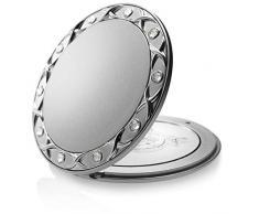 Fantasia Taschenspiegel, rund, 10-fach Vergrößerung, Swarovski Elements, 8.5 cm, silber