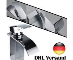 Auralum Wasserhahn Küchenarmatur Badarmatur chrom Waschtischarmatur Einhand Wasserfall 1er-Pack