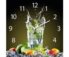 Wanduhr aus Glas für die Küche, Ice Mojito, Cocktail Glas, 30x30 cm von Eurographics