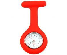 Sanwood Schwesternuhr zum Anstecken, Silikon, Uhr für Pflegepersonal Gr. One size, rot