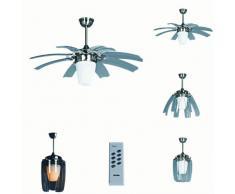 QAZQA Design/Industrie/Industrial/Modern Deckenventilator mit beleuchtung und fernbedienung Wings 42 Stahl/Silber/nickel matt/Innenbeleuchtung/Wohnzimmerlampe/Schlafzimmer/Küche Glas /