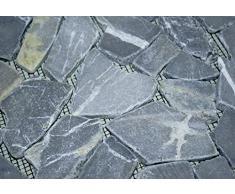 DIVERO 1qm Marmor Naturstein-Mosaik Fliesen für Wand Boden Bruchstein grau 4 Großformat-Matten 53 x 53cm