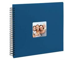 Goldbuch Spiralalbum Living Blue, Erinnerungsalbum mit Bildausschnitt, Fotoalbum mit 50 schwarzen Seiten, Foto Album zum Einkleben, Fotobuch mit Einband in Leinenoptik, 25 094, Papier, Blau, 32x36 cm