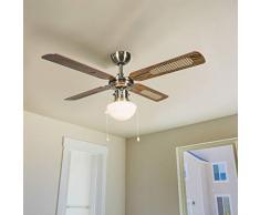 QAZQA Retro Deckenventilator mit beleuchtung Wind 42 Bronze/Innenbeleuchtung/Wohnzimmerlampe/Schlafzimmer/Küche Glas/Holz/Stahl Rund LED geeignet E14 Max. 1 x 60 Watt