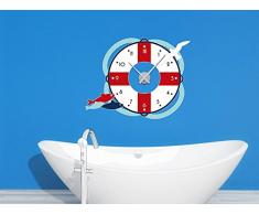 Wandsticker Uhr Mit Uhrwerk Wanduhr Badezimmer Rettungsring Fische Möwe  (Uhr Schwarz)