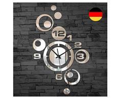 Grandora® W842 Moderne Wanduhr mit Spiegel Design Wandtattoo