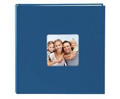 Goldbuch Foto Einsteckalbum Living Blue, Fotoalbum für 200 Fotos im Format 10 x 15 cm, Memoalbum mit Bildausschnitt, Fotobuch mit Einband in Leinenoptik, Album zum Einstecken, 17 194, Papier, Blau