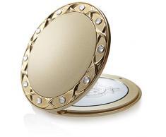 Fantasia Taschenspiegel, rund, 10-fach Vergrößerung, Swarovski Elements, 8.5 cm, gold