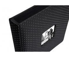 WALTHER Hochzeitsalbum Black Glamour - Fotoalbum für bis zu 200 Fotos 10 x 15 cm - 50 schwarze Seiten - 30,5 x 28 cm - Buchalbum