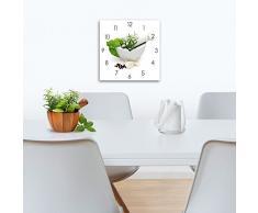 Wanduhr aus Glas für die Küche, Marinade in Mortar, Prozellanschüssel mit Kräutern, weiß, 30x30 cm von Eurographics
