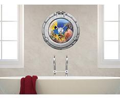 Wandsticker Uhr Mit Uhrwerk Wanduhr Badezimmer Bullauge Fische Meer Ozean  (Uhr Schwarz)
