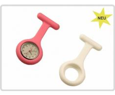 Schwesternuhr - Set mit 1 x Schwesternuhr und 2 x Silikonhüllen (weiß und rosa) - Krankenschwesteruhr, Pulsuhr, Kitteluhr, Pflegeuhr * Top-Qualität zum Top-Preis*