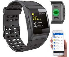 Newgen Medicals Smartwatch: GPS-Sportuhr, Bluetooth, Fitness, Puls, Nachrichten, Farbdisplay, IP68 (Pulsuhren)