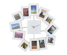 Vevendo Design Bilderrahmenuhr Asymmetrisch mit 12 Rahmen für Erinnerung, Moderne Foto-Wanduhr, Kombination aus Uhr und Bilderrahmen, Farbe: Weiss