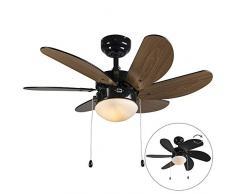 QAZQA Modern Deckenventilator mit beleuchtung schwarz - Fresh 3 / Innenbeleuchtung/Wohnzimmerlampe/Schlafzimmer/Küche Glas/Holz/Stahl Rund LED geeignet E14 Max. 1 x 60 Watt