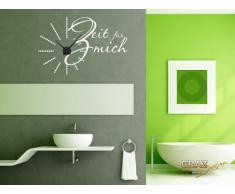 Graz Design 800185_BK_073 Wandtattoo Uhr Wanduhr modern Spruch Zeit fr mich mit Punkten Baddekoration Deko fr Bad Badezimmer (Uhr Schwarz/Aufkleber Dunkelgrau)