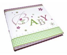 Goldbuch Babyalbum Lovely, Album ca. 30 x 31 cm, Fotoalbum mit 60 weiße Blankoseiten, 4 illustrierten Seiten und Pergamin-Trennblättern, Leinenstruktur bedruckt, Rosa, 15085