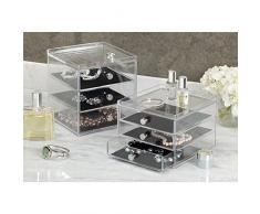iDesign Clarity Jewelry Schmuckaufbewahrung | Schmuckkasten mit 3 Schubladen für Uhren, Ketten etc. | Schmuck Organizer mit Kratzschutz | Kunststoff durchsichtig