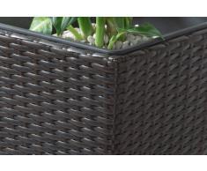 Gartenfreude Pflanzkübel Polyrattan inkl. Kunststoffeinsatz für innen und außen, Bicolour Braun, 28 x 28 x 60 cm