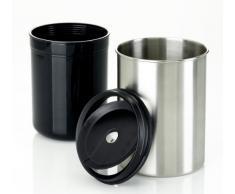 Emsa 506469 Tisch-Abfallbehälter, Edelstahl, 11.5 x 16.6 cm, Edelstahl/Schwarz, Accenta