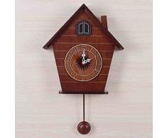 MEILING Modernes Wohnzimmer Kreative Musik Wanduhr Europäische Stil Zeitmessung Kuckucksglocken Einfache Mode Kuckuck Uhren und Uhren ( Color : Braun )