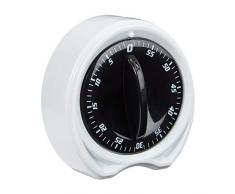 Relaxdays Eieruhr, 1h Zeitintervall, ringender Signalton, Küchenhelfer, mechanisch, Kurzzeitmesser, D: 8cm, weiß/schwarz